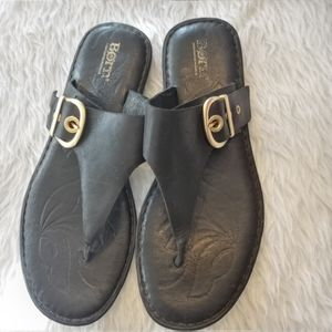 Born Black Leather Thong Sandals